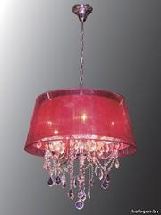Хрустальная люстра с красной органзой классика по доступной цене